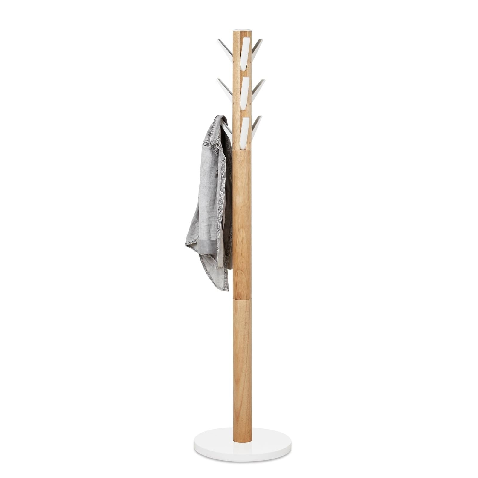 Καλόγερος Ρούχων Flapper (Λευκό / Ξύλο) - Umbra