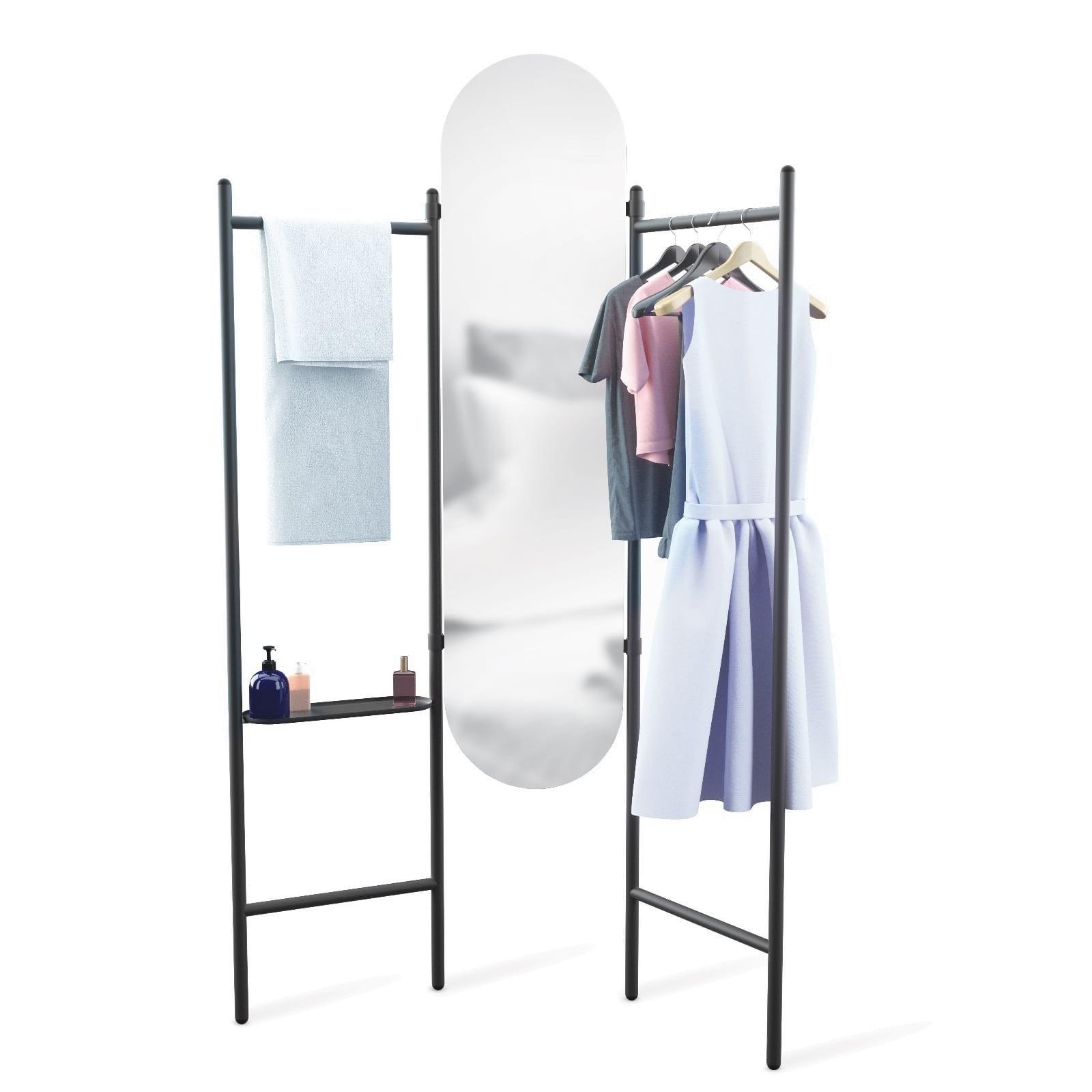 Καθρέφτης Δαπέδου & Κρεμάστρα Vala (Μαύρο) - Umbra