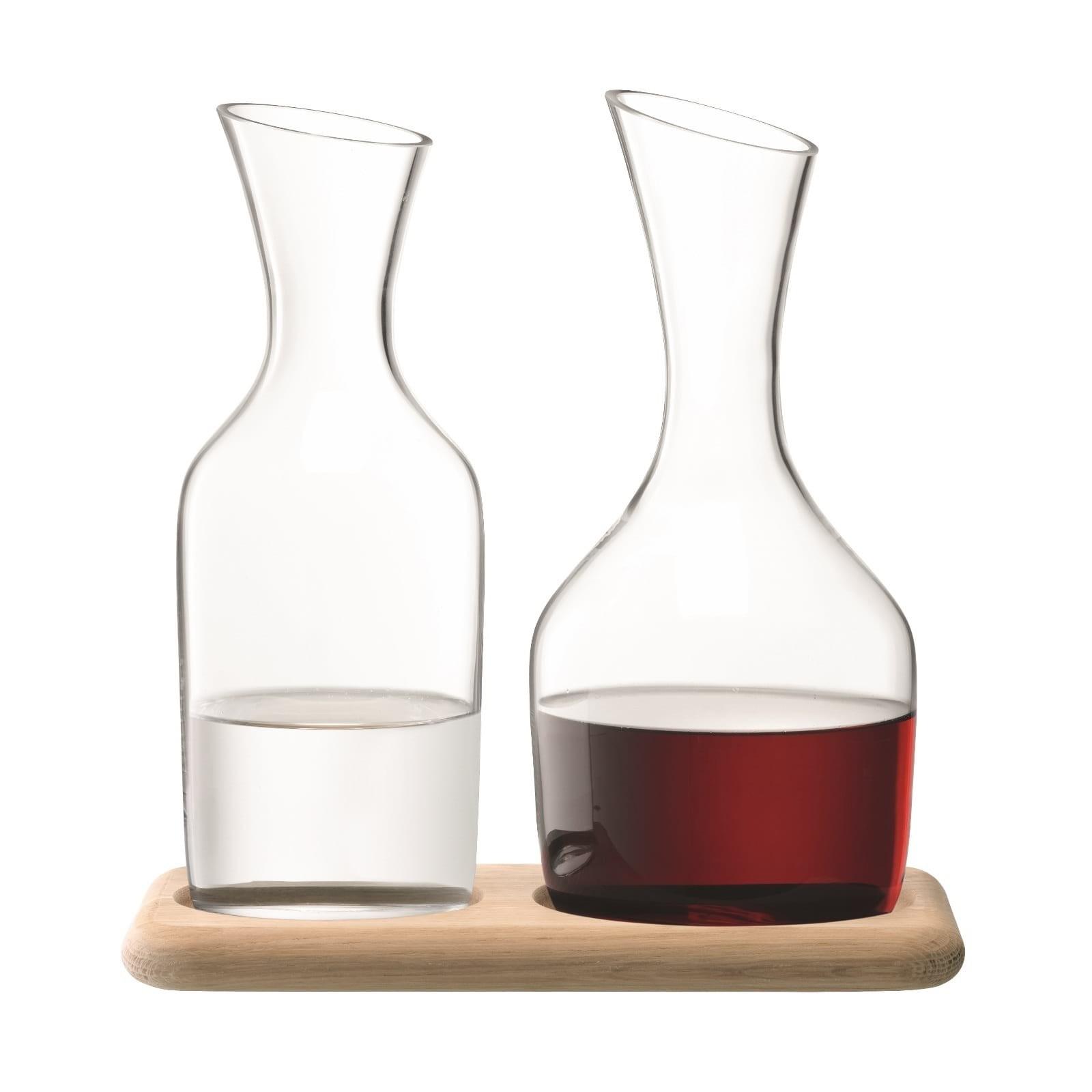 Σετ Καράφα Κρασιού & Νερού με Ξύλινη Βάση - LSA