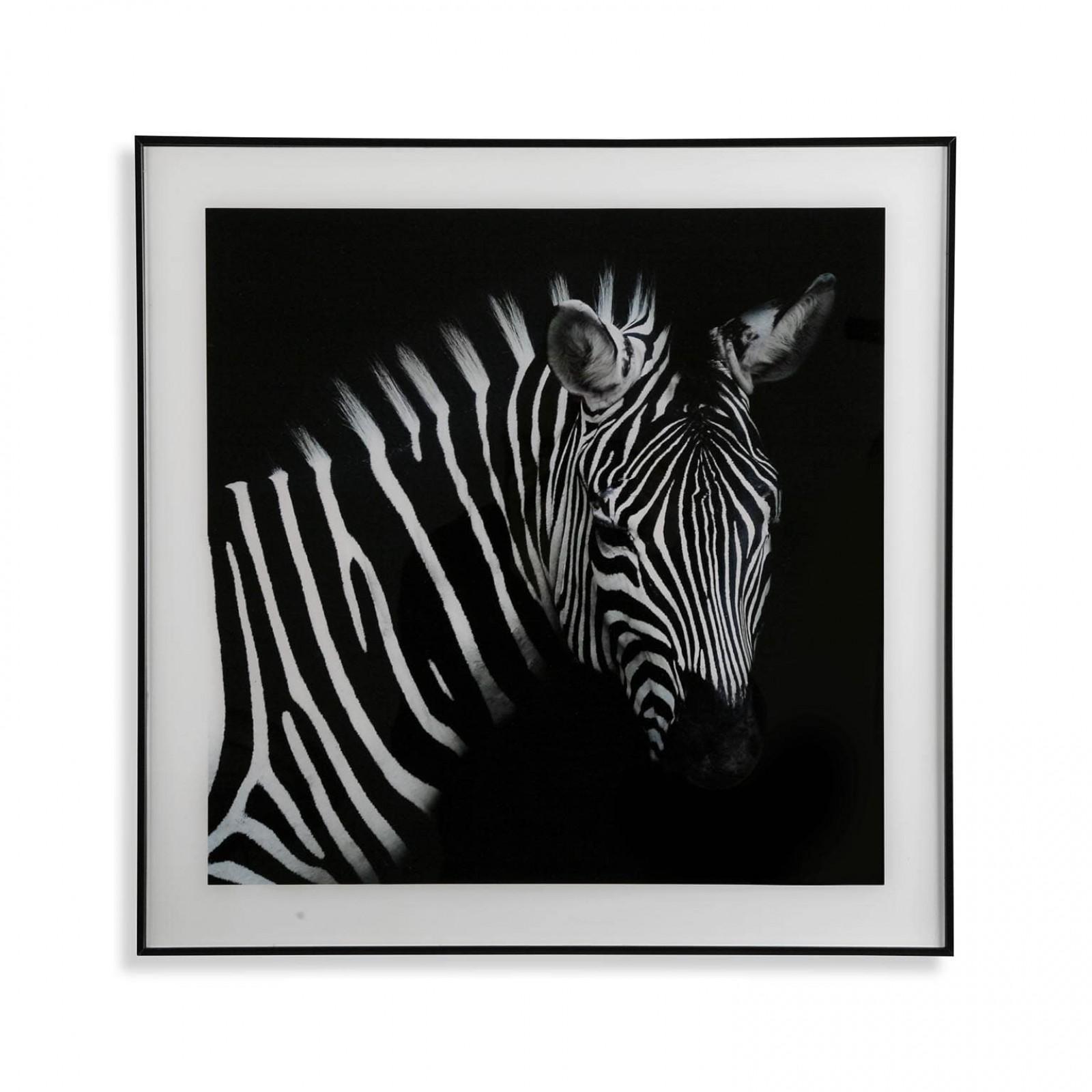 Διακοσμητικό Κάδρο Zebra 50 x 50 εκ. (Λευκό /  Μαύρο) - Versa