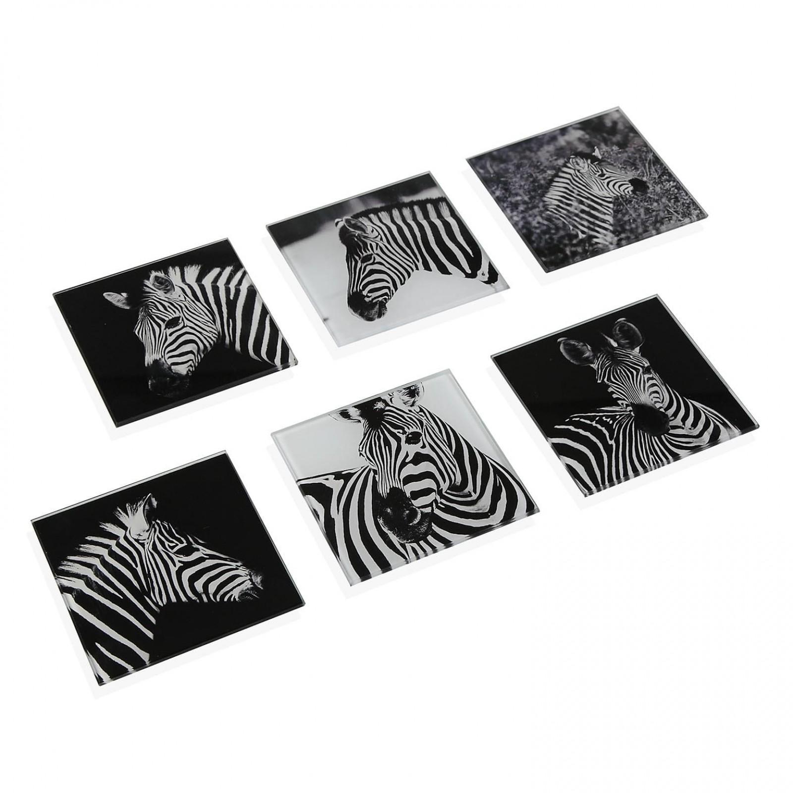 Σουβέρ Τετράγωνα Zebra Σετ των 6 (Γυαλί) - Versa
