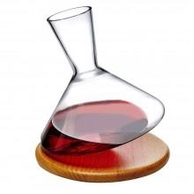 Κρυστάλλινη Καράφα Κρασιού 1L με Ξύλινη Βάση Balance - Nude Glass