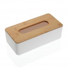 Ξύλινη Θήκη για Χαρτομάντηλα Bamboo (Λευκό / Φυσικό) - Versa