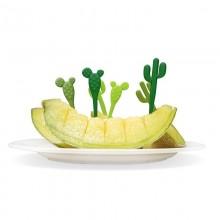 Πιρουνάκια για Σνακ Cactus Σετ των 6 (Πράσινο) - Qualy