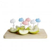 Πιρουνάκια για Σνακ Cloud Σετ των 6 (Λευκό, Μπλε, Ροζ) - Qualy