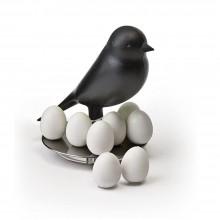 Σετ 8 Μαγνητάκια με Βάση Egg Sparrow (Μαύρο) - Qualy