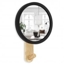 Κρεμάστρα Τοίχου με Καθρέφτη Hub Mirror (Μαύρο / Φυσικό Ξύλο) - Umbra