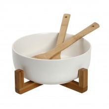 Σαλατιέρα με Ξύλινη Βάση & Κουτάλες (Λευκό) - Espiel