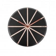 Ξύλινο Ρολόι Τοίχου Lines (Μαύρο / Φυσικό) - Karlsson