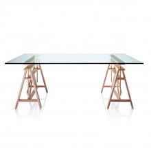 Γραφείο / Τραπέζι Teatro με Μεταβλητό Ύψος (Ξύλο Οξιάς / Γυαλί) - Magis