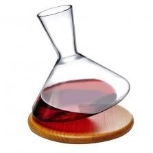 Κρυστάλλινη Καράφα Κρασιού 1 L με Ξύλινη Βάση Balance - Nude Glass