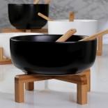 Σαλατιέρα με Ξύλινη Βάση & Κουτάλες (Μαύρο) - Espiel