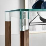 Γυάλινο Τραπέζι Perseo (Ξύλο Καρυδιάς) - Tonelli Design