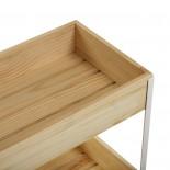 Τρόλεϊ Μπάνιου / Κουζίνας με 3 Ράφια Pine Φυσικό Ξύλο Versa