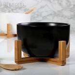 Σαλατιέρα 21 εκ. με Ξύλινη Βάση & Κουτάλες Μαύρο Espiel