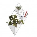 Trigg Κρεμαστά Βάζα & Γλαστράκια Τοίχου Σετ των 2 (Λευκό / Ασημί) - Umbra
