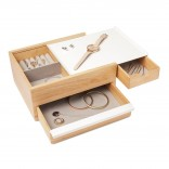 Stowit Jewelry Storage Box (White / Natural) - Umbra