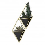 Trigg Small Hanging Wall Planter & Vase Set of 2 (Black / Brass) - Umbra