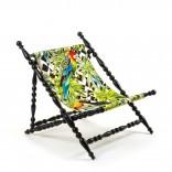 Heritage Foldable Deckchair Parrots (Black) - Seletti