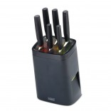 Lock Block Self Locking Knife Block with 6 Knives (Black) - Joseph Joseph