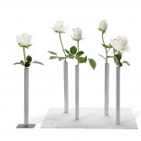 Magnetic Vase Set of 5 Aluminium Flower Vases (Silver) - Peleg Design