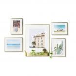 Matinee Wall Photo Frame Set of 5 (Mat Brass) - Umbra