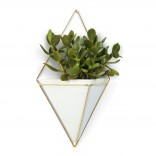 Trigg Large Hanging Wall Planter & Vase (White / Brass) - Umbra
