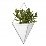 Trigg Large Hanging Wall Planter & Vase (White / Nickel) - Umbra