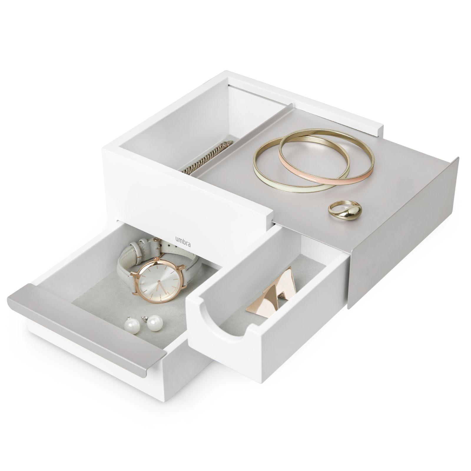 Mini Stowit Jewelry Storage Box (White / Nickel) - Umbra