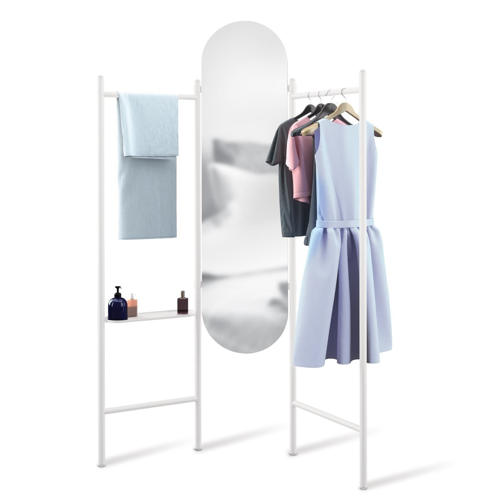 Vala Floor Mirror & Valet (White) - Umbra