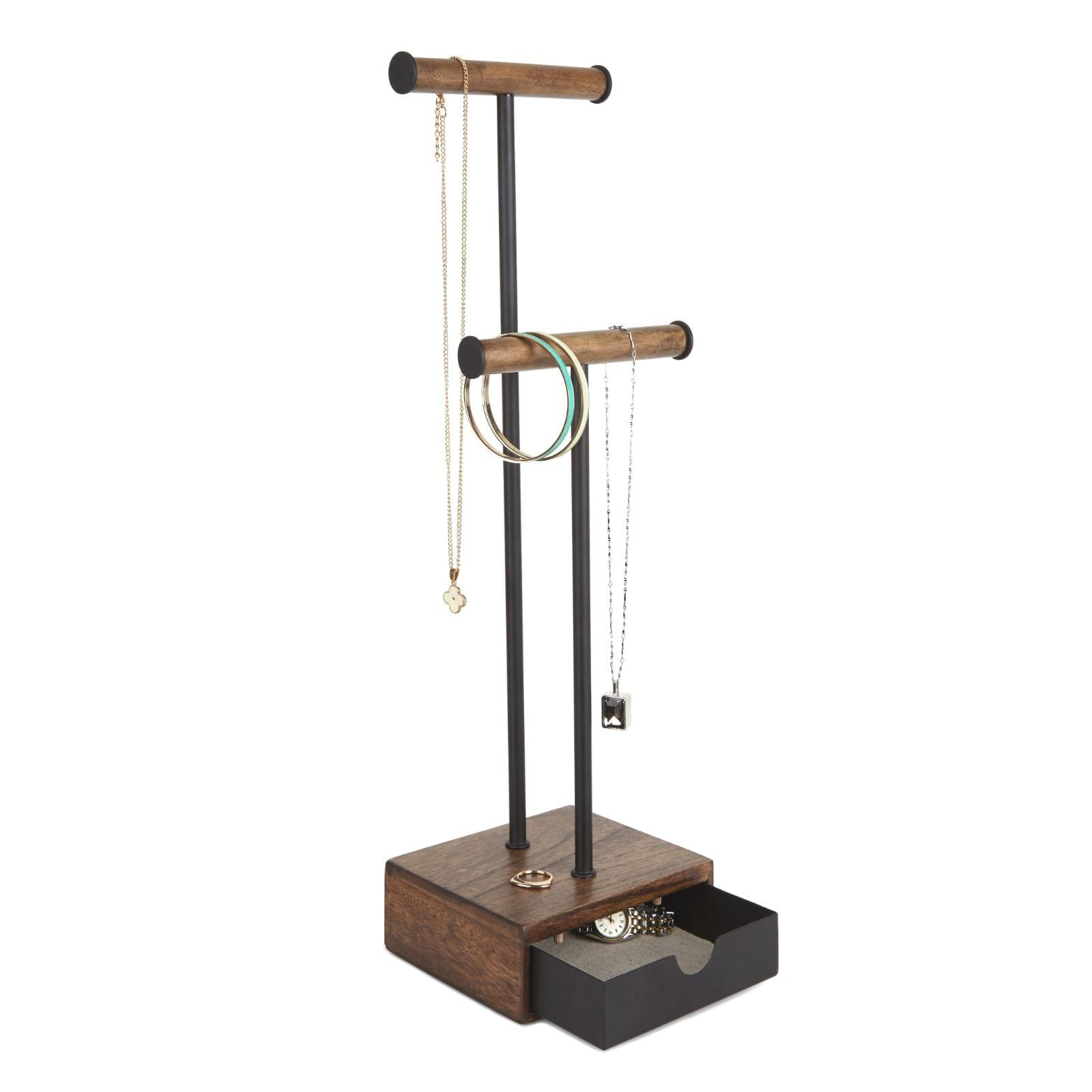 Pillar Jewelry Stand (Black / Walnut) - Umbra