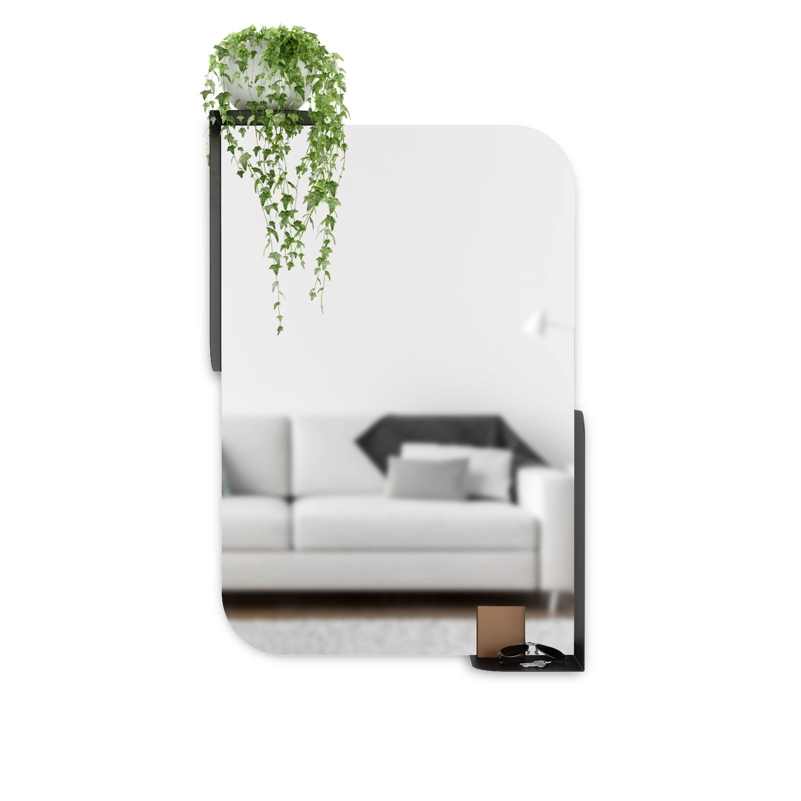 Alcove Wall Mirror With Shelves (Black) - Umbra