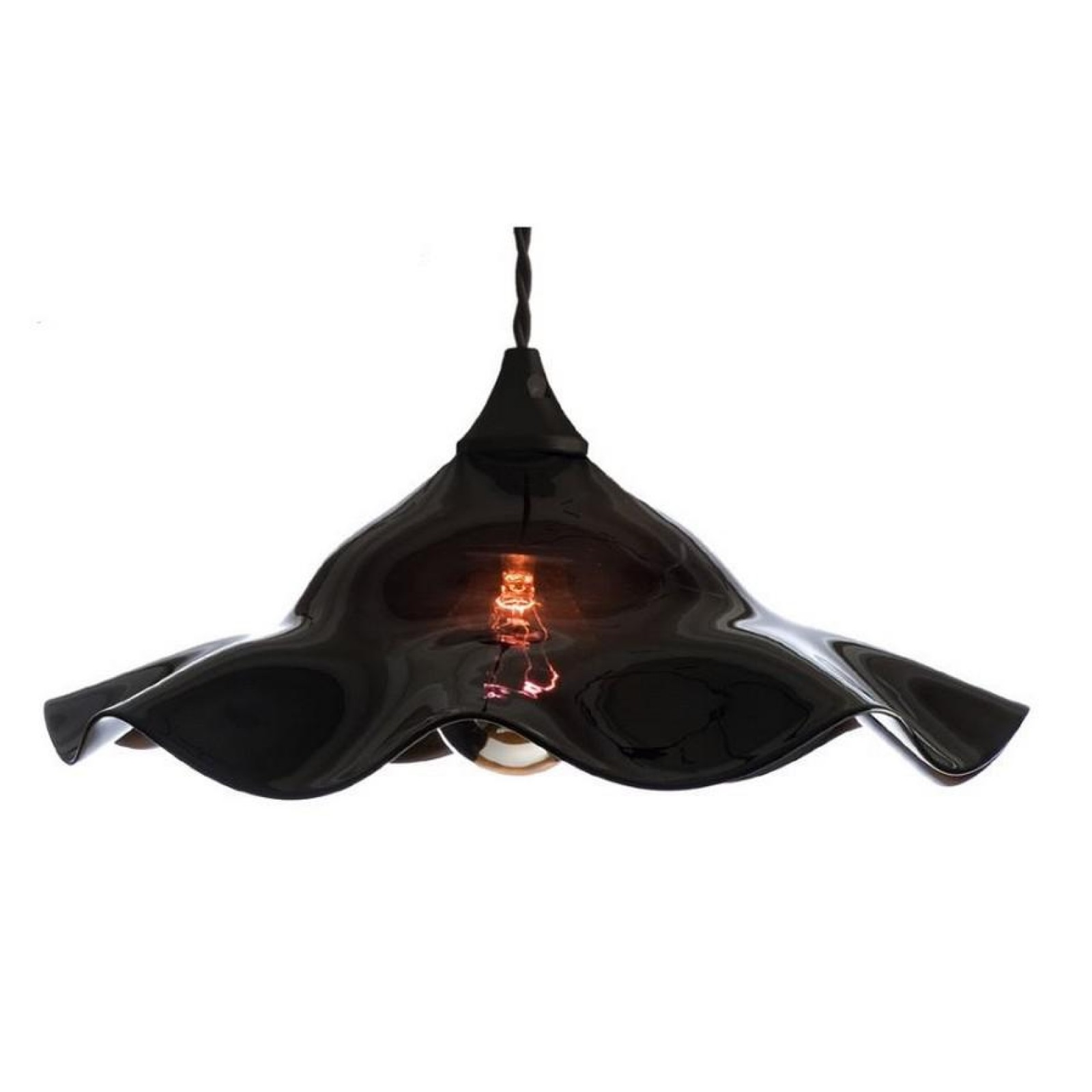 Black Nouveau Pendant Lamp Open - Rothschild & Bickers