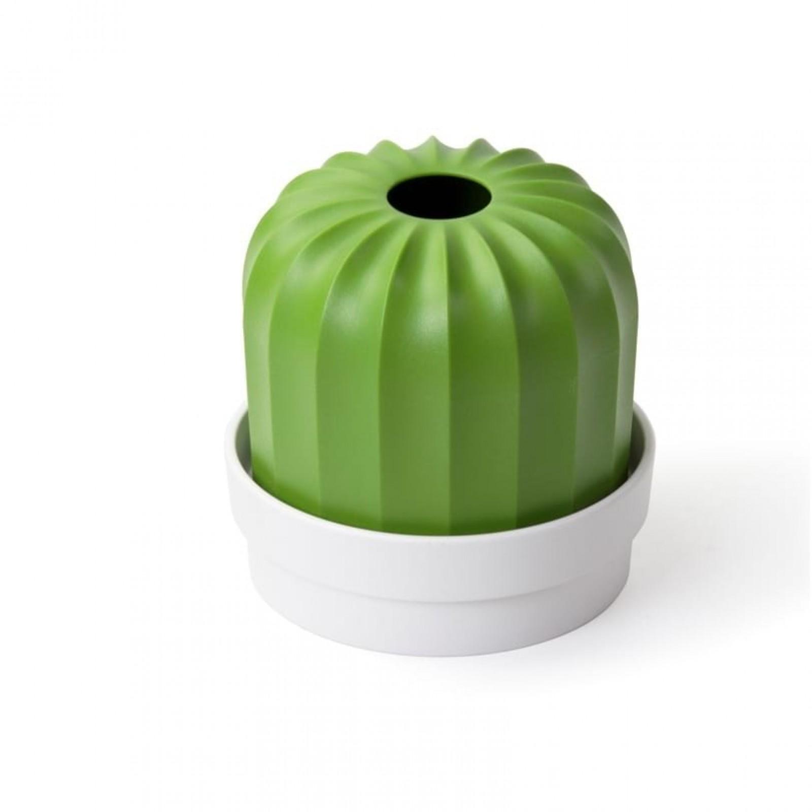 Cactiss Napkin / Toilet Paper Holder & Plant Pot (Green / White) - Qualy