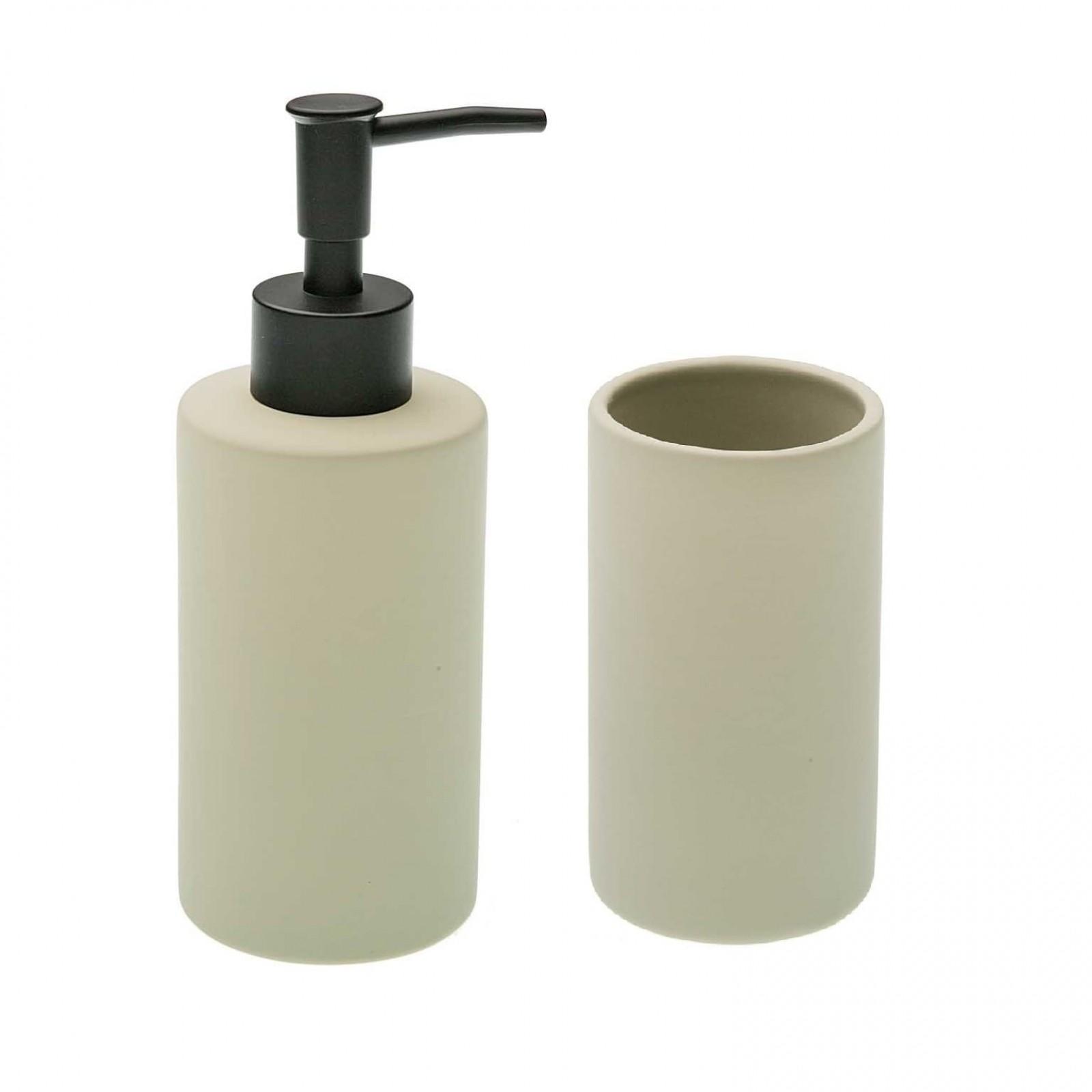 Ceramic Soap Dispenser & Tumbler Set (Beige)