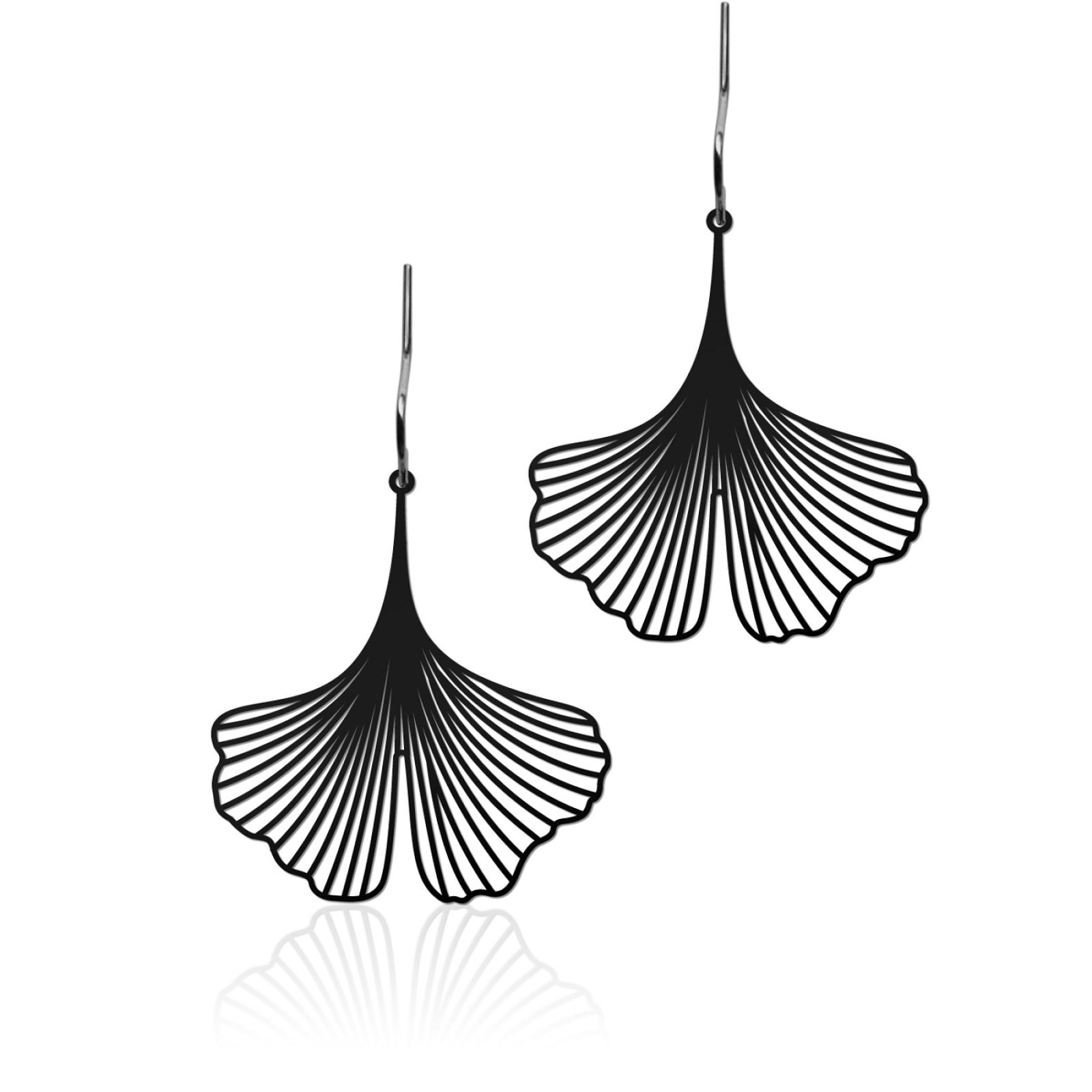Ginkgo Earrings S (Black) - Moorigin