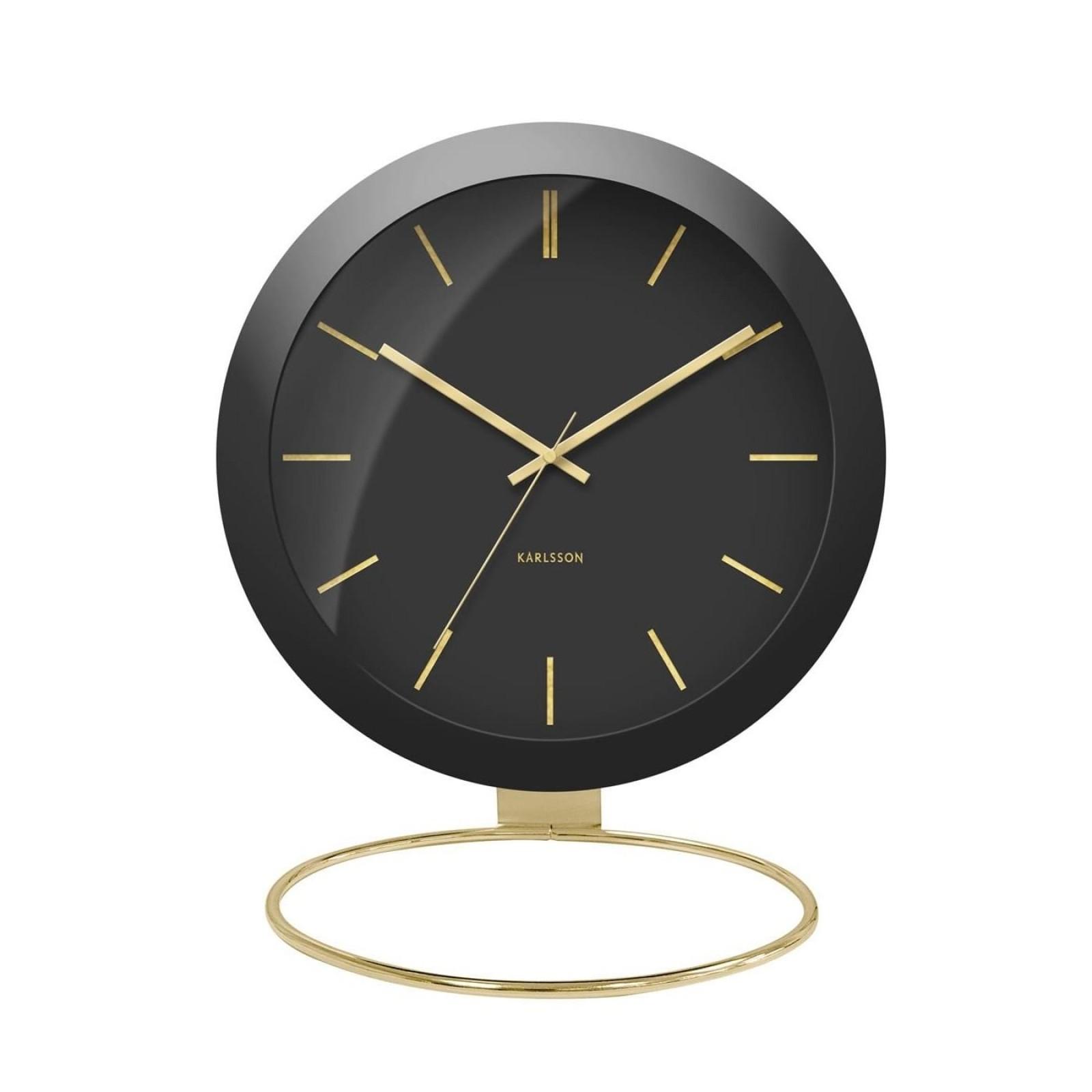 Globe Table Clock (Black) - Karlsson