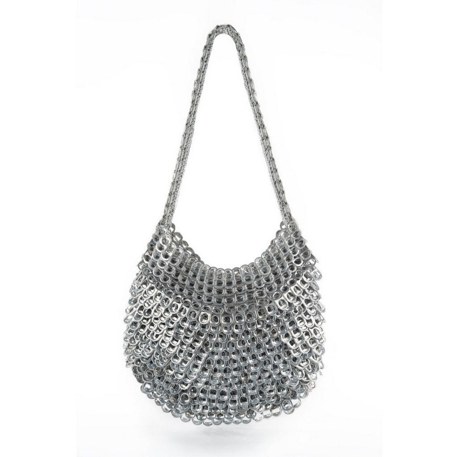Greta Handmade Recycled Shoulder Bag (Silver) - Escama Studio