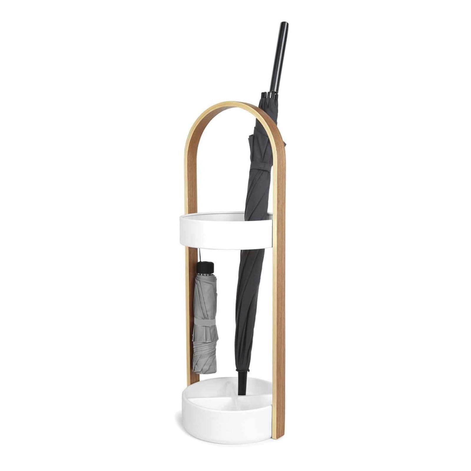 Bellwood Umbrella Stand (White / Natural) - Umbra