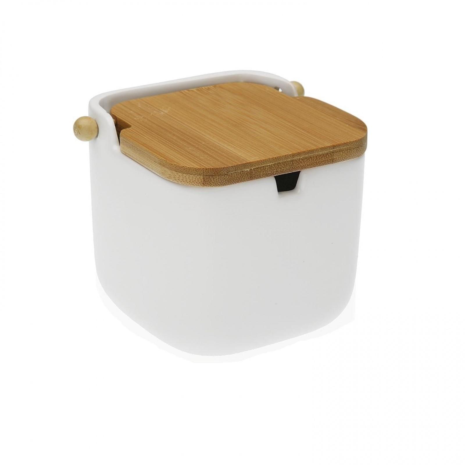 Joe Bamboo Lid Sugar Bowl (White) - Versa