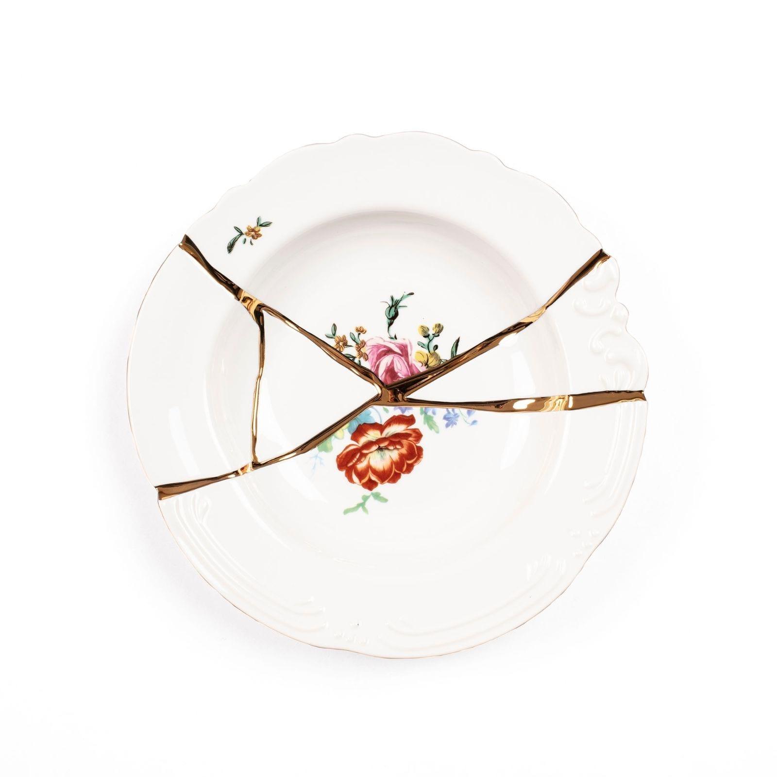 Kintsugi Soup Bowl N.2 (Porcelain / Gold) - Seletti