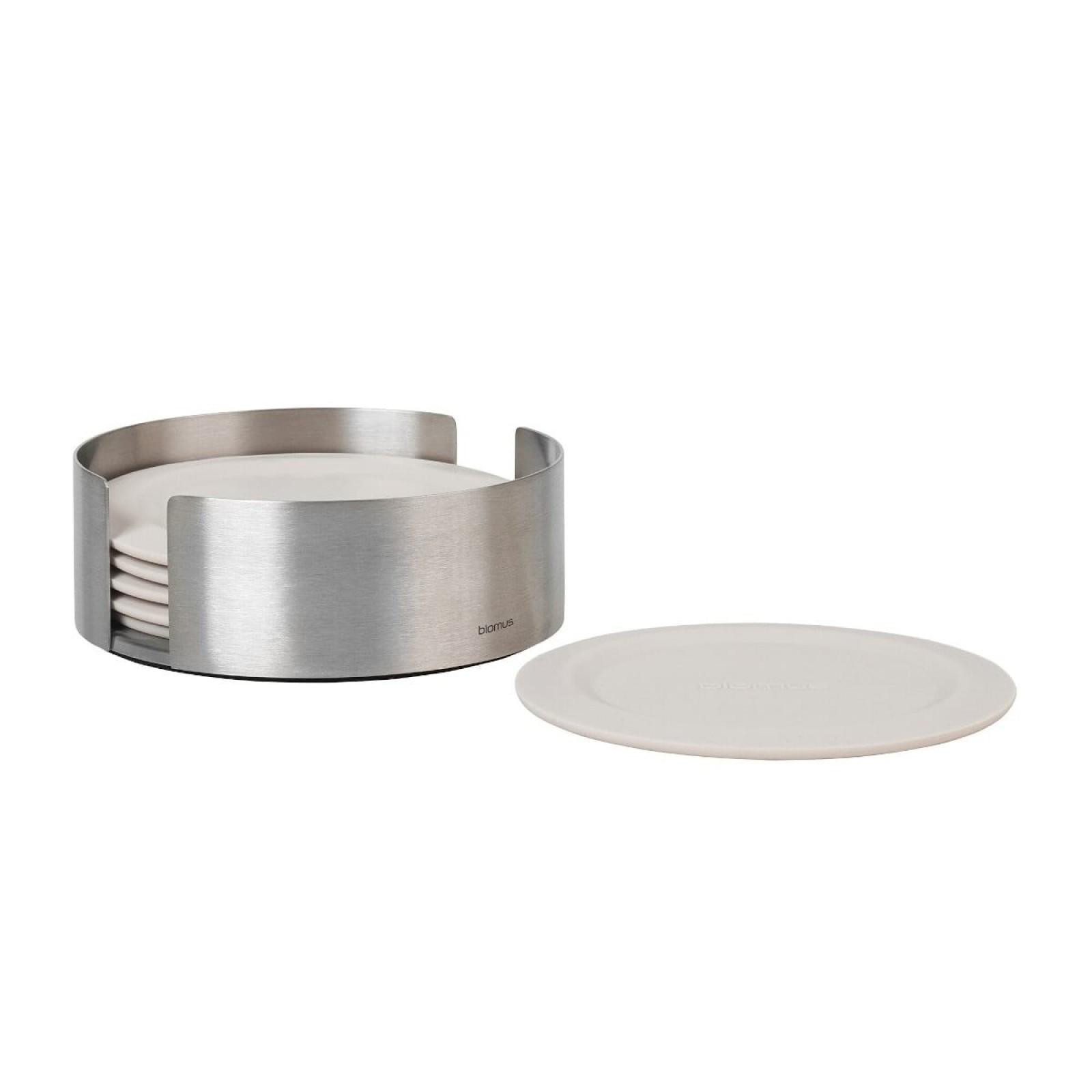 LARETO Round Coasters with Steel Holder Set of 6 (Moonbeam) - Blomus
