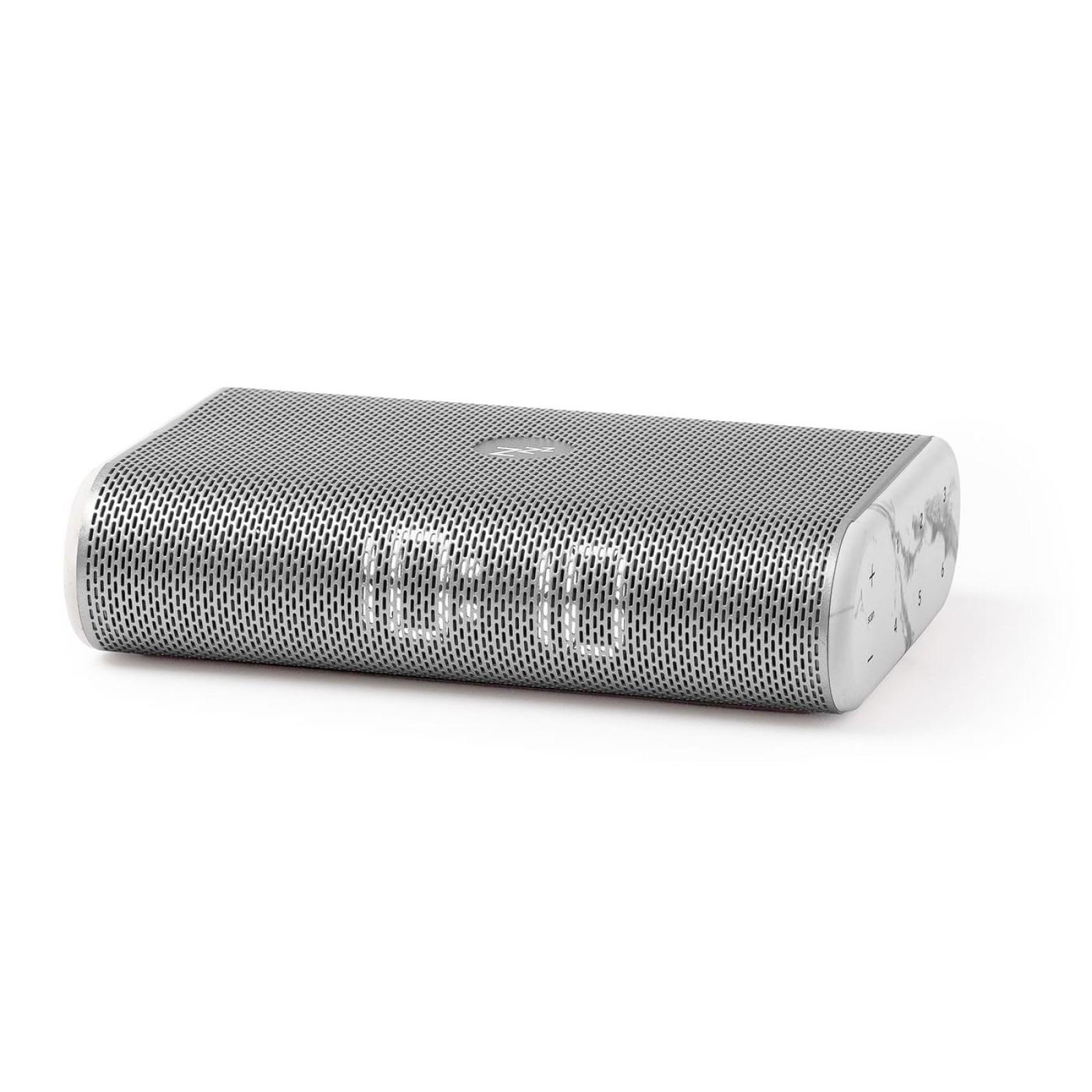 Miami Time FM Clock Radio with LED Display (Silver / White Marble) - LEXON