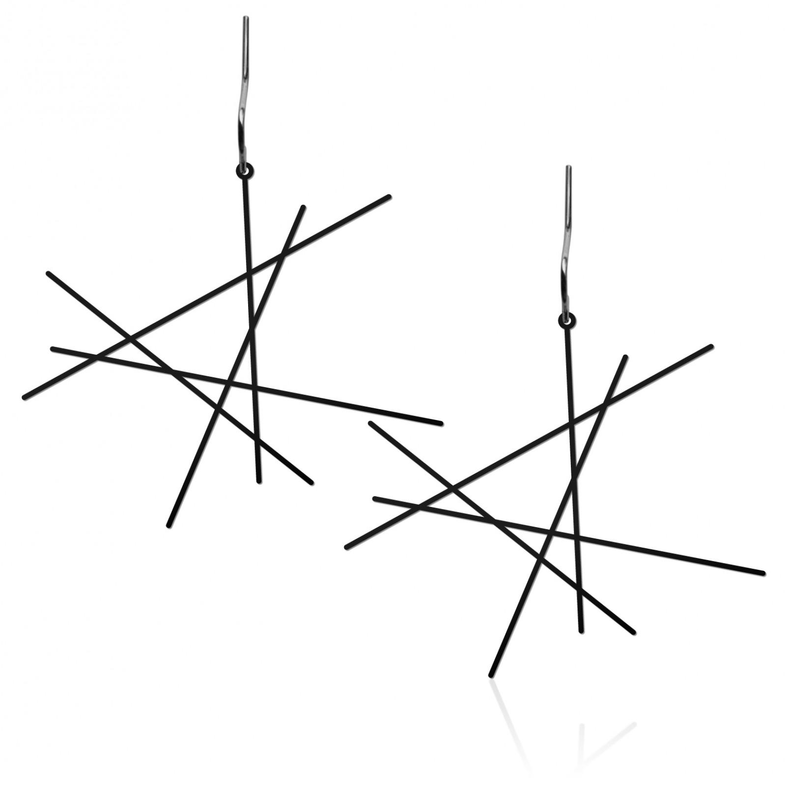 Line Earrings M (Black) - Moorigin
