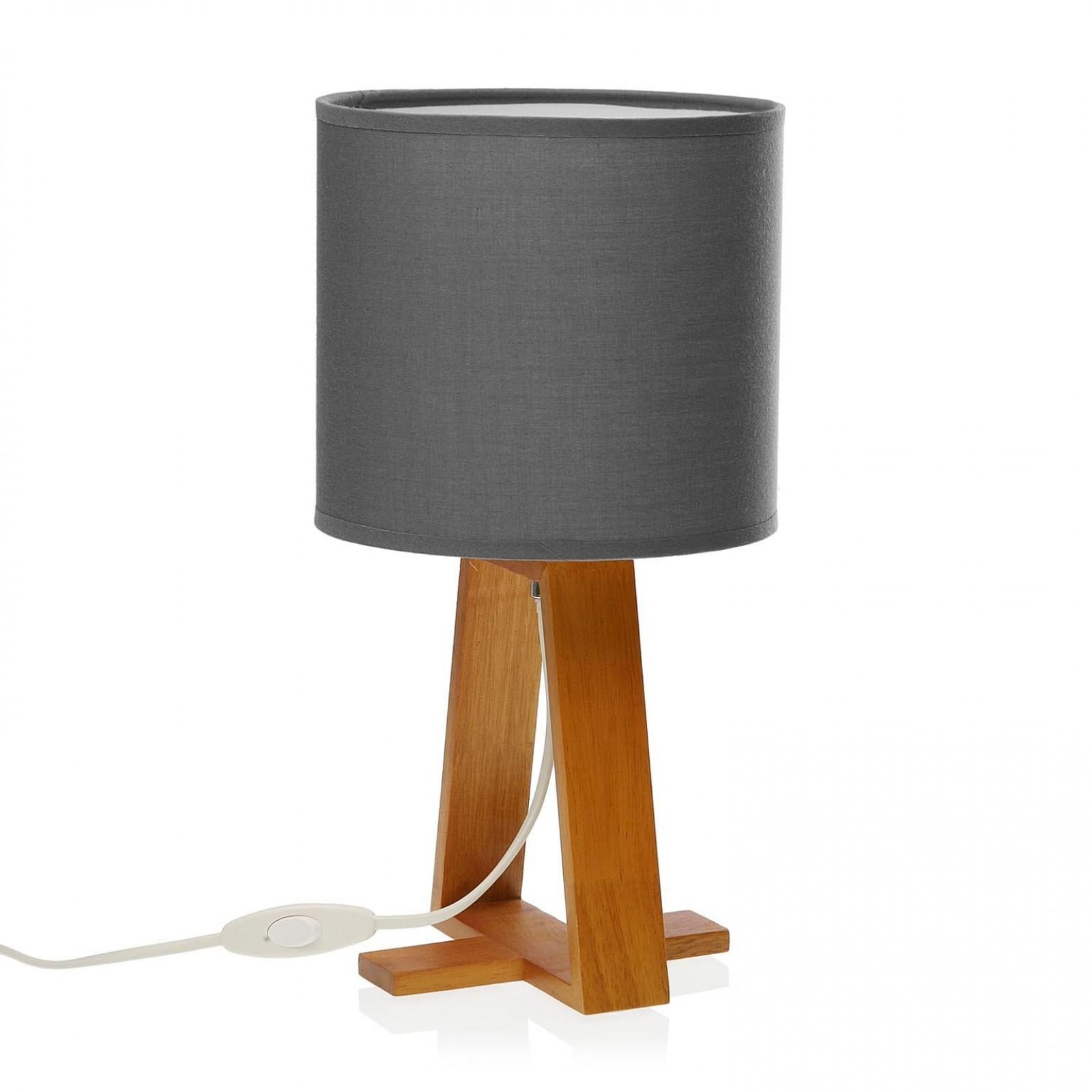 Linear Table Lamp Grey (Wood / Textile) - Versa