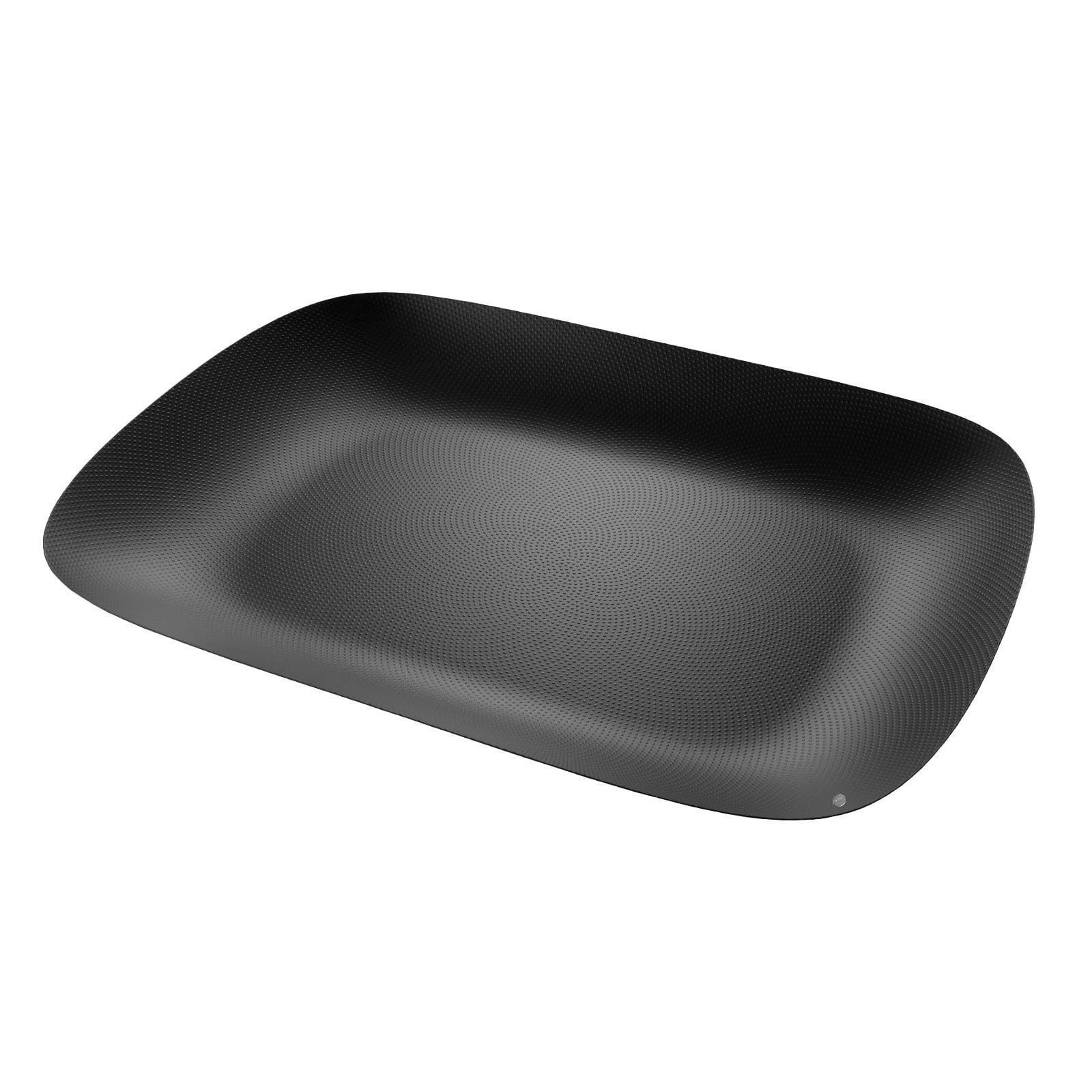 Moiré Rectangular Tray with Relief Decoration (Black) - Alessi