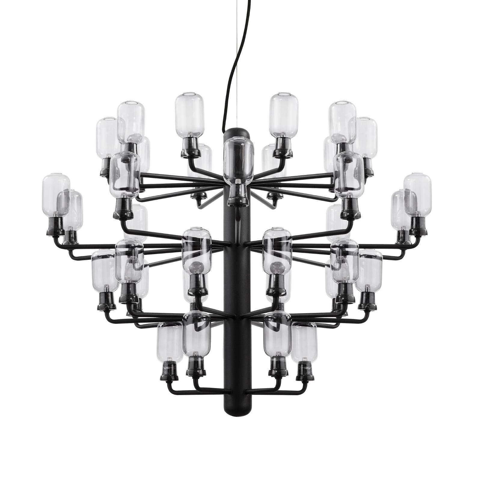 Amp Chandelier Large 35 LED Bulbs (Smoke / Black) - Normann Copenhagen