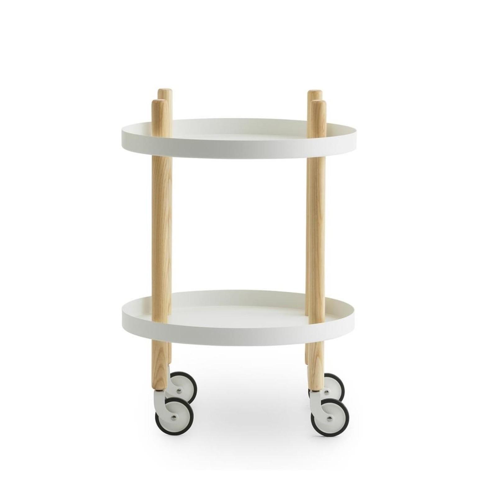 Block Table Trolley Round Ø45cm (White / Ashwood) - Normann Copenhagen