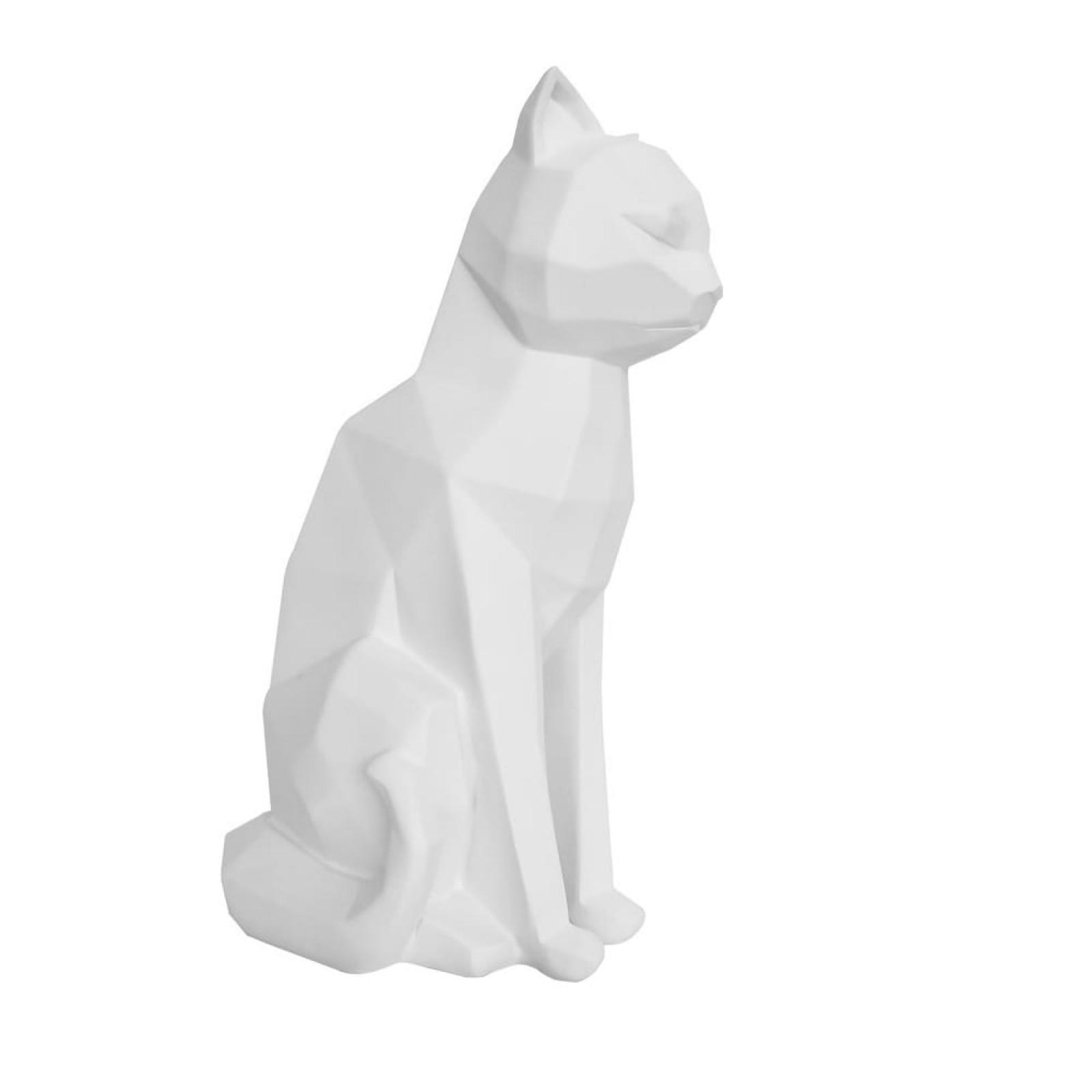 Origami Cat Sitting Statue (White) - Present Time