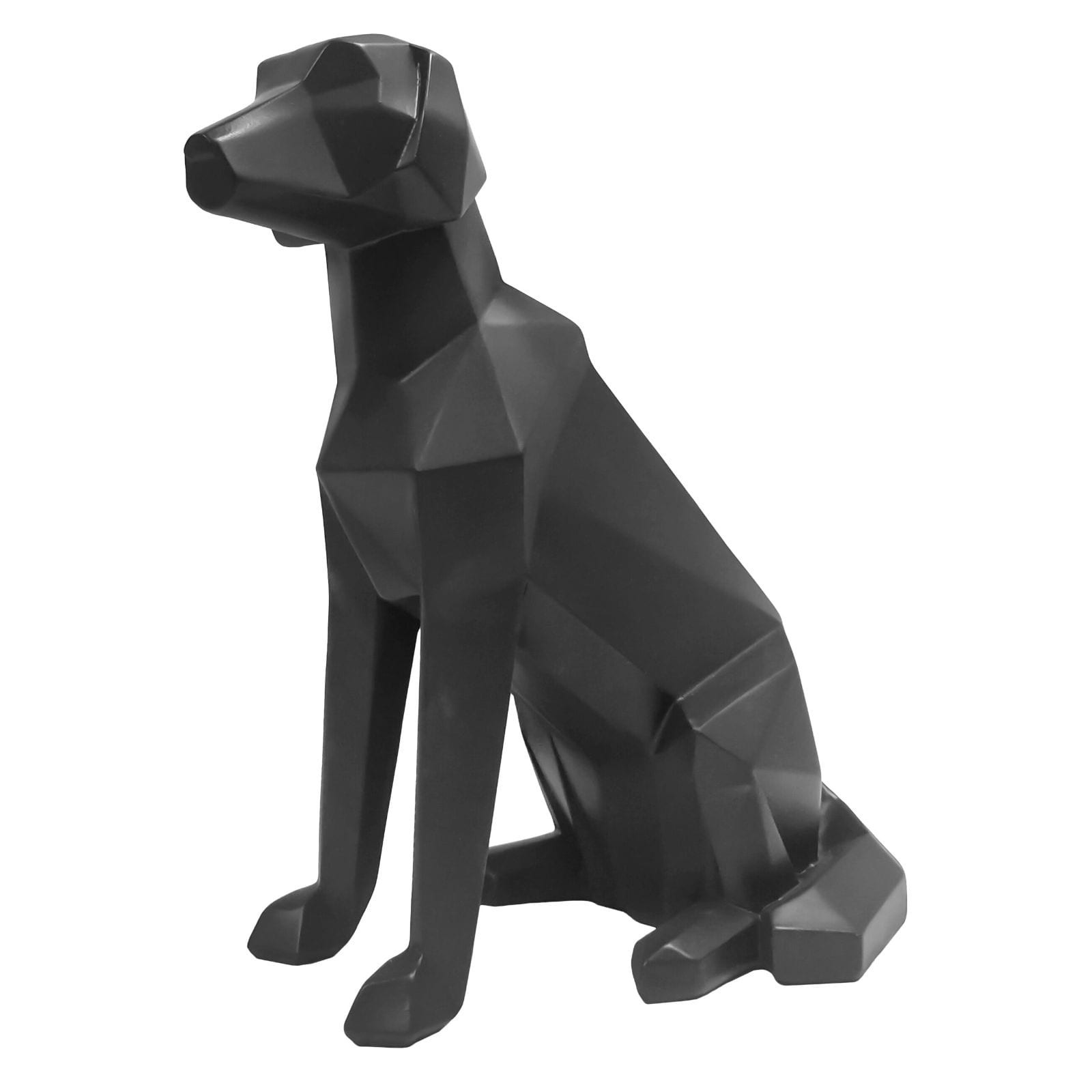 Origami Dog Sitting Statue (Black) - Present Time